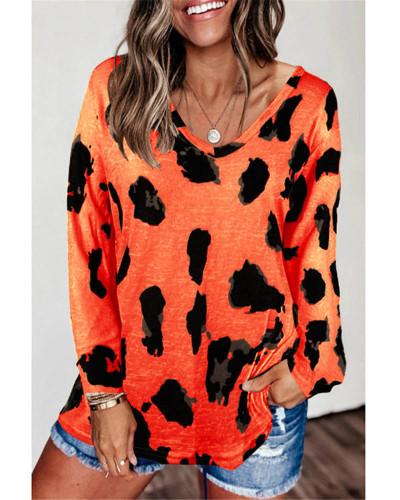 Orange Loose long sleeve printed T-shirt top