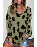 Army green Loose long sleeve printed T-shirt top