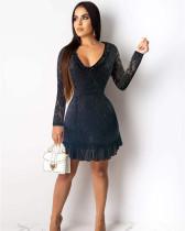 Black Leak back solid color stitching chiffon dress