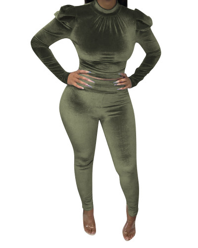 Green Imported Korean velvet sexy nightclub style two-piece suit