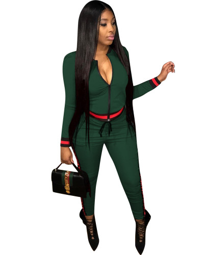 Green Fashion thread leisure sports suit