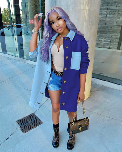 Bule Fashion contrast color stitching shirt jacket coat