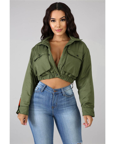 Army green Cotton jacket fashion lining contrast thickening single-breasted motorcycle jacket cotton jacket outerwear
