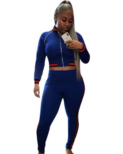 Blue Fashion thread leisure sports suit