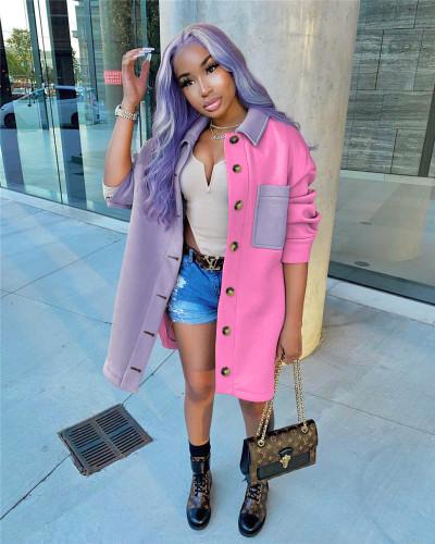 Fashion contrast color stitching shirt jacket coat