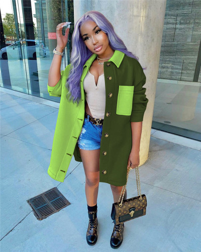Green Fashion contrast color stitching shirt jacket coat