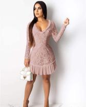Pink Leak back solid color stitching chiffon dress
