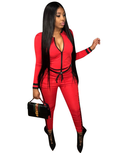 Red Fashion thread leisure sports suit
