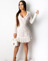 White Leak back solid color stitching chiffon dress