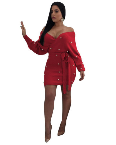 Red Sexy long sleeve hip dress
