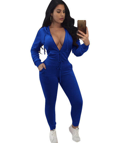 Blue Fashion sports hooded two-piece set