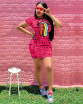 Red Letter print + lip patch dress
