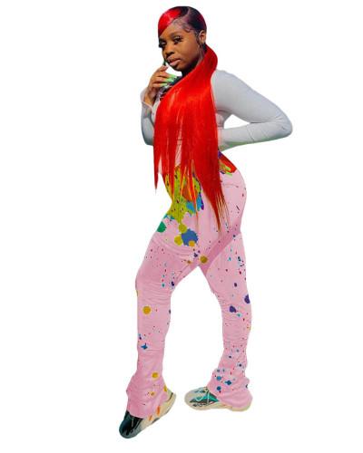 Pink Pleated ink splash 4-pocket micro flared track pants