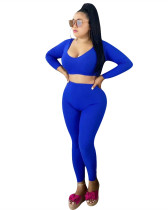 Blue Low neck solid color long sleeve sexy two-piece suit