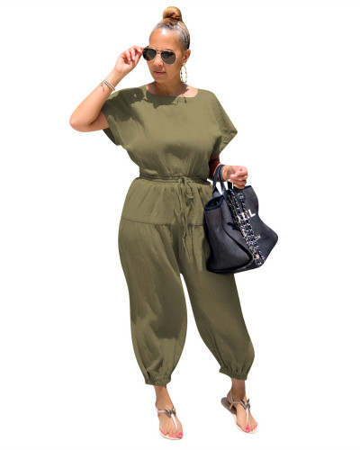 Green Fashion cotton and linen loose back slit jumpsuit