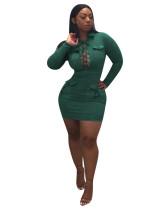 Green Chest bandage deerskin velvet dress
