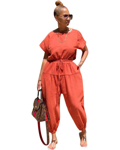 Orange Fashion cotton and linen loose back slit jumpsuit