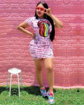 Pink Letter print + lip patch dress