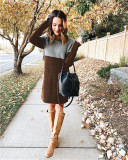Coffee Sweater net red new stitching skirt loose large size round neck long sleeve women's dress