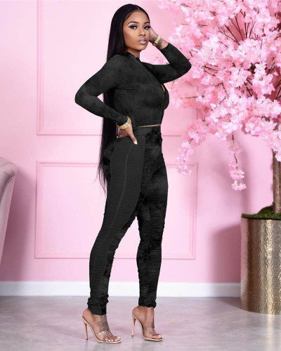 Black Two-piece hip-lifting slim-fit pleated stitching mesh printed sports suit