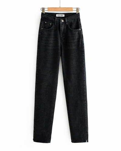Black Washed high-rise floor-to-ceiling split jeans