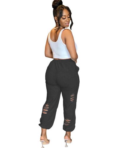 Black Urban casual women's sweatshirt burnt pocket sports harem pants