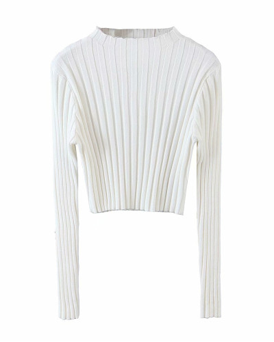 White Pure color pit strip pullover sweater