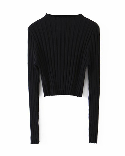 Black Pure color pit strip pullover sweater