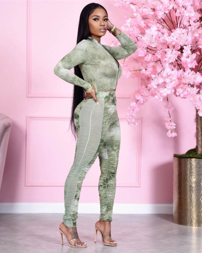 Two-piece hip-lifting slim-fit pleated stitching mesh printed sports suit