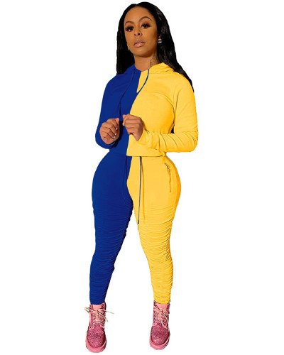 Blue Fashion hooded sports suit two-piece suit