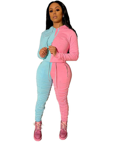 Light Blue Fashion hooded sports suit two-piece suit