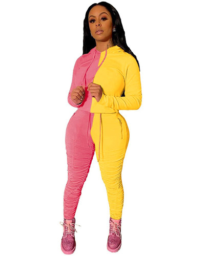 Pink Yellow Fashion hooded sports suit two-piece suit