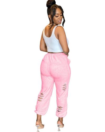 Pink Urban casual women's sweatshirt burnt pocket sports harem pants