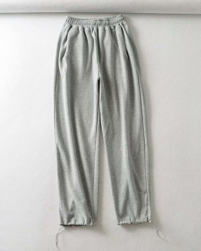 Light Gray Casual straight-leg pants