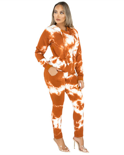 Orange Two-piece fashion hooded sports suit
