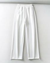 White Casual straight-leg pants
