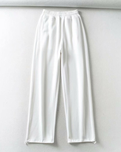 White Casual straight-leg pants