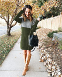 Army green Sweater net red new stitching skirt loose large size round neck long sleeve women's dress