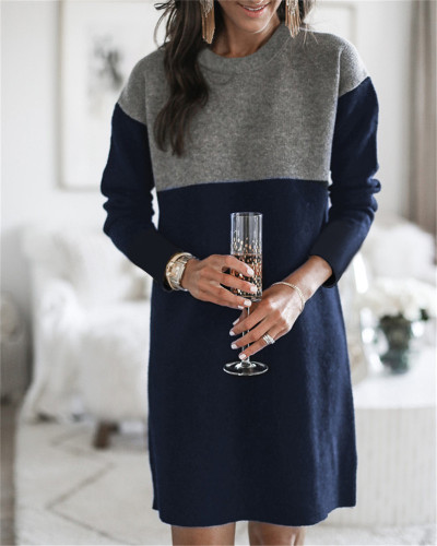 Dark Sweater net red new stitching skirt loose large size round neck long sleeve women's dress