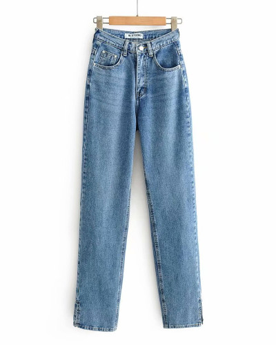 Dark Blue Washed high-rise floor-to-ceiling split jeans