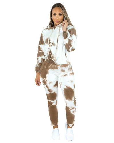 Brown Two-piece fashion hooded sports suit