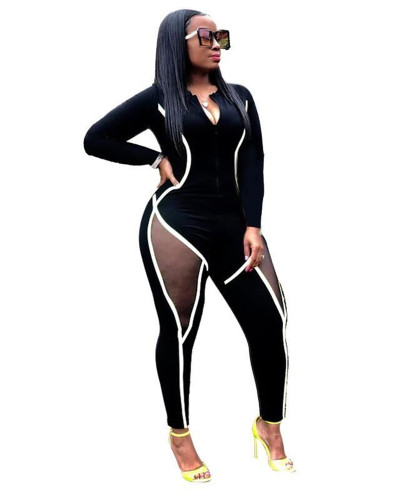 Black Skinny Long Sleeve Jumpsuit