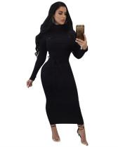 Black Long sleeve hip slim dress