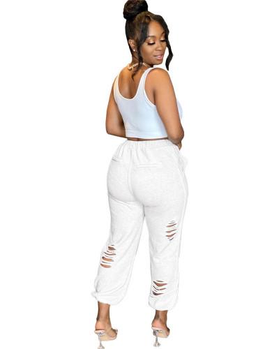 White Urban casual women's sweatshirt burnt pocket sports harem pants