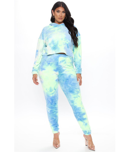 Blue Two-piece hooded sports suit