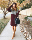 Claret Sweater net red new stitching skirt loose large size round neck long sleeve women's dress
