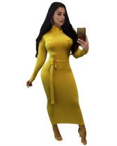 Yellow Long sleeve hip slim dress