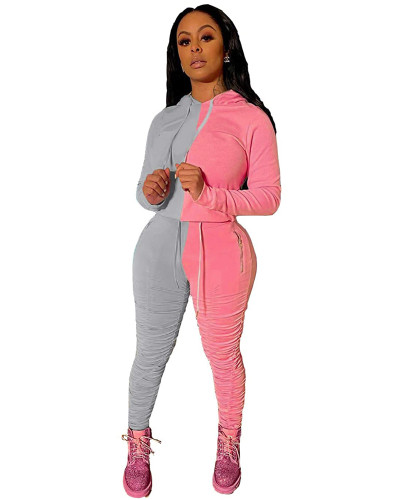 Gray Pink Fashion hooded sports suit two-piece suit