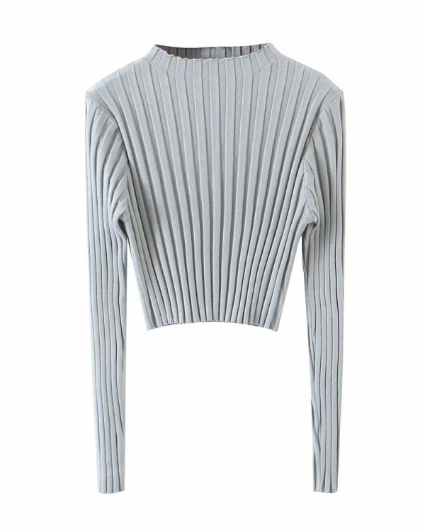 Gray Pure color pit strip pullover sweater