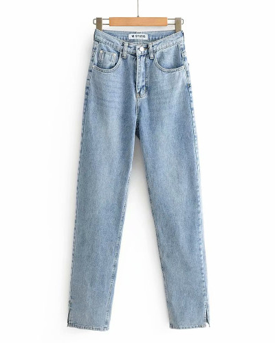 Light Blue Washed high-rise floor-to-ceiling split jeans
